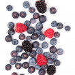 Raspberries and blueberries and blackberries — Stock Photo