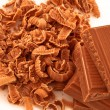 Stock Photo: Chocolate shavings surrounding pile of chocolate