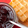 Breakfast with waffles and jam - Stock Photo