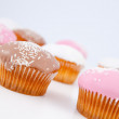 Stock Photo: Muffins with icing sugar lined up