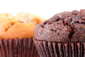 Close up of chocolate muffin and a regular muffin — Stock Photo