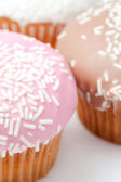 Extreme close up of many muffins with icing sugar — Stock Photo