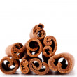 Pyramid of cinnamon sticks — Stock Photo