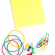 Stationery whose pushpins elastics paperclips adhesive notes — Stock Photo
