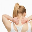 Woman massaging her nape with her hands — Stock Photo #13995895