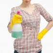 Close up of a woman holding a spray bottle — Stock Photo #13996201