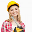 Woman holding a wrench while smiling — Stock Photo #13996526