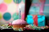 Birthday cup cake — Stock Photo