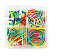 Box with multicolored of pushpins and paperclips — Stock Photo