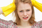 Close up of a woman pulling her hair — Stock Photo