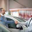 Salesman smiling while shaking the hand of a customer — Stock Photo #14077286