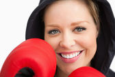 Woman smiling boxing — Stock Photo