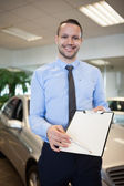 Man holding a contract — Stock Photo