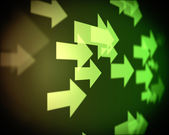 Background of multiple green arrows — Stock Photo