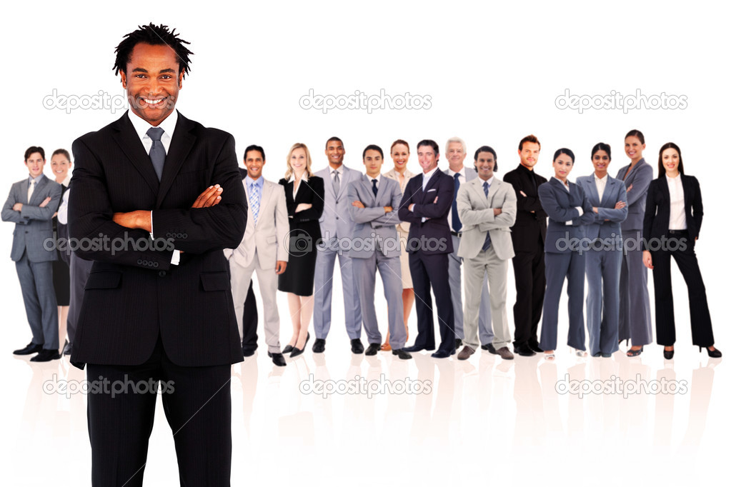 Businessman standing while smiling against a white background — Stock Photo #14078500