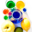 Fruits and beakers - Stock Photo