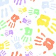 Stock Photo: Multi colored handprints
