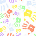 Multi colored handprints — Stock Photo
