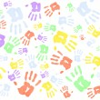 Lots of multi colored handprints — Stock Photo #14083390