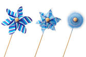 Three blue pinwheels — Stock Photo