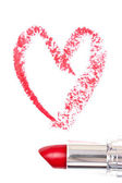 Red trace of lipstick forming a heart — Stock Photo