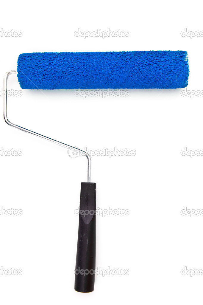 Blue paint roller on white background — Stock Photo #14083238