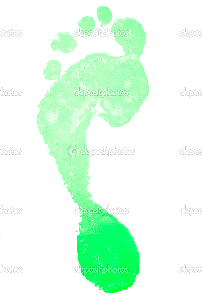 Footprint of a colour green against a white background  Stock Photo #14083353