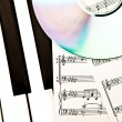 Cd and music score - Stock Photo