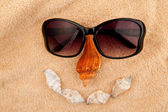 Shellfishes and sunglasses representing a face — Stock Photo