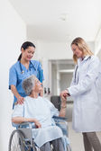 Doctor looking at a patient on a wheelchair — Stock Photo