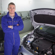 Foto Stock: Smiling mechanic standing