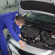 Stock Photo: Mechanic repairing engine