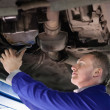 Stock Photo: Mechanic repairing below of car
