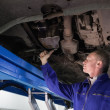 Stock Photo: Mechanic repairing with spanner