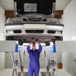 Mechanic standing while repairing a car - Foto de Stock