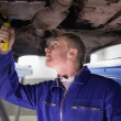 Stock Photo: Mlooking at below of car while repairing
