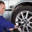Stock Photo: Mrepairing car wheel