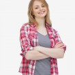 Front view of a woman smiling while standing — Stock Photo #14154013