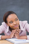 Close up of a thoughtful black woman — Stock Photo