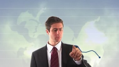 Stock Footage of Businessman showing upward Graph — Stock Video