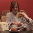 Stock Footage of a Woman Eating Breakfast — Stock Video