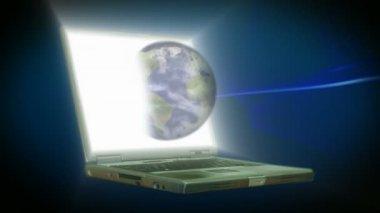Lager animation av en lap top med världen — Stockvideo