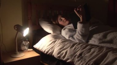Stock Footage of a Woman in Bed — Stock Video