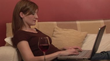 Woman Relaxing with Computer — Stock Video
