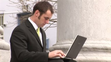 Stock Footage of Businessman Working Outdoors — Stock Video
