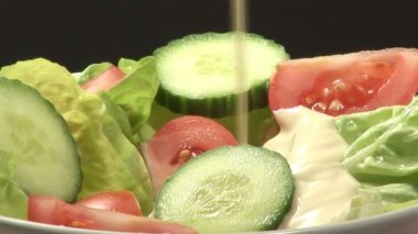 Stock Video of Pouring Salad Dressing