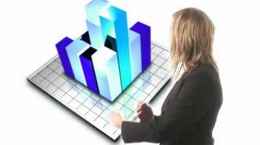 Mulher de negócios olhando para o gráfico — Vídeo Stock