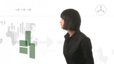 Businesswoman Looking at a Futuristic Screen — Stock Video