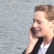 Businesswoman talking on mobile phone — Stock Video #14607357