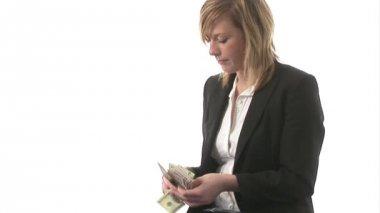 Uma mulher de negócios com dinheiro — Vídeo Stock